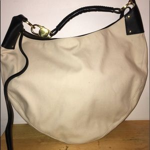 GUCCI BICOLOR BRAIDED LEATHER CANVAS HOBO SAC SET